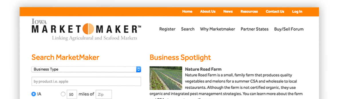 screenshot of Market Maker website